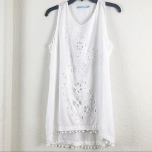 Solitaire Swim White Eyelet Cover Up